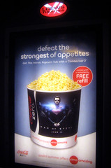 Man of Steel - New Superman Popcorn Tub  0170 (Brechtbug) Tags: street new york city nyc man building tower clock work dark comics painting movie poster book evening dc paint theater comic near steel character alien ad bat working broadway superman billboard advertisement adventure tub popcorn hero superhero billboards knight worker gotham 34th paramount krypton 2013