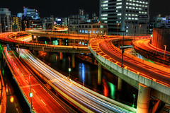 Tokyo Drift (DILLEmma Photography) Tags: street japan night river tokyo insane crazy highway crossing cross nightshot traffic designer under over bridges tunnel junction adventure maze foreign crisscross pillars confusion trafficjam hdr overlapping constructer crosscross