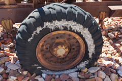 Weathering Tyre (Serendigity) Tags: old wheel museum desert transport rusty australia outback derelict tyre northernterritory alicesprings