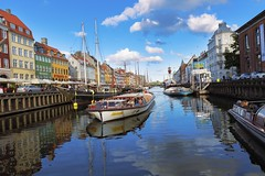 Nyhavn waterfront (yuanxizhou) Tags: city trip travel sky streets building architecture copenhagen denmark photography nyhavn harbor boat europe waterfront tourists historical northeurope