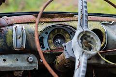 Good as new (emilhallengren) Tags: bilkyrkogrd car carcemetery kyrkomsse odometer rust speedometer steeringwheel vintage weathered wreck