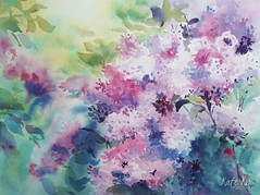 Lilac Sky (katekos) Tags: art akwarela painting watercolor watercolour flowers flower floral poenies roses bouquet plant lilac katekos floralwatercolor