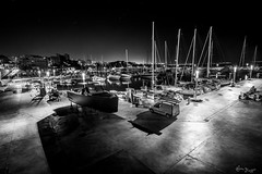 nuit des etoiles Calanova - Petit port sportif de Palma de Mallorca (Bruno Frerejean (Bruno Mallorca)) Tags: nightharbourshot harbour nuitdesetoiles noiretblanc nightshot blackwhite blancoynegro port tokina1116mmf28 mallorca