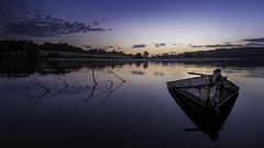 Jaunay (Oly and Nikon user) Tags: lac jaunay vende france sunset lake boat