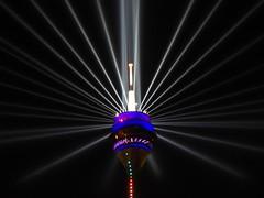 Rheinturm zum 70. NRW-GEBURTSTAG (pithopani71) Tags: rheinturm nachtaufnahmen lichtinstallation nrwgeburtstag