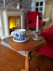 Care for a cup of tea? (Foxy Belle) Tags: dollhouse miniature stain house miniatures table candlestand side colonial sitting room parlor living toile blue wallpaper vintage red velvet sofa chair fireplace tile white ooak hard wood floor tea