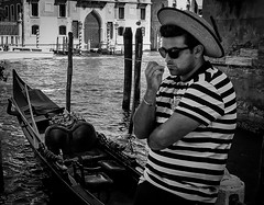 Bored Gondolier (mark196611) Tags: gondolier boat venice canal grand blackwhite monochrome italy man male italian hat
