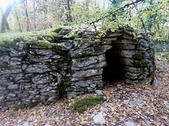 A gariotte as part of a wall (AJ Mitchell) Tags: drystone rural quercy gariotte capanna choza gariota wall moss wood