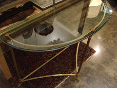 "GLASS TOP BRASS DIRECTOIRE STYLE CONSOLE, 1970'S. • <a style=""font-size:0.8em;"" href=""http://www.flickr.com/photos/51721355@N02/29696938494/"" target=""_blank"">View on Flickr</a>"