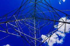 Blue Tower (Walimai.photo) Tags: blue azul bleu sky cielo nube cloud blanco white blanc branco lumix lx5 panasonic torre tower electricidad electricity wire cable triangle tringulo spain espaa salamanca helmntico