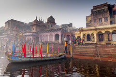 Mathura Boat (Stefan Sjogren) Tags: india mathura harbour boat uttar pradesh flags travel business yamuna river
