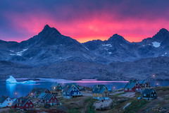 As They Sleep (Hilton Chen) Tags: icebergs summer ocean eastgreenland colorfulhouses sunrise mountains pink waterreflection peaceful lamps
