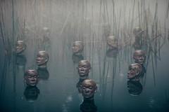 Heads (Axon Imagery) Tags: heads nikond700 nikon135mmf2dc pond canberra nationalgallery sculpturegarden canberraphotowalk