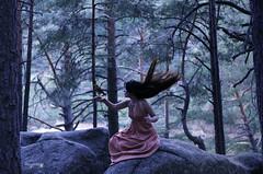 12. Requiem (Lara Garca Corrales) Tags: woman dress forest nature pines crow wings flying animal bird black