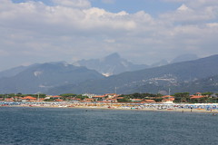 Apuan Mountain range overlooking the town # 1 - Forte dei Marmi, Tuscany, Italy 2016 (Moocha) Tags: apuan mountain range overlooking town forte dei marmi tuscany italy beach resort
