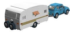 10252 VW Beetle MOD towing Caravan! (RS 1990) Tags: lego digitaldesigner ldd moc mod 10252 volkswagen vw beetle caravan trailer rv towing