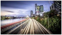Urban Rush (JakaPH Photography) Tags: rush city cityscape brisbane queensland australia traffic sunset dusk evening lights buildings sky skyscraper river little stopper filter nd busy light trails long exposure movement motion water urban street road