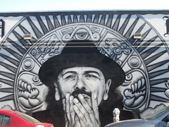 Carlos Santana Mural Art (shaire productions) Tags: urbanart image picture mural missiondistrict imagery photo photograph photography wall painting murals spraycan art arts artist sfart sanfrancisco portrait portraiture carlossantana music musician mexican heritage aztec design monochrome