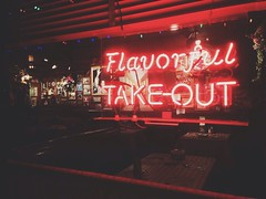 Flavorful Take-out (AnthonyTulliani) Tags: food sign night dinner neon glow takeout hungry dine iphone iphone5 iphoneography uploaded:by=flickrmobile flickriosapp:filter=nofilter
