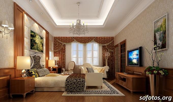 quarto de casal luxuoso com tv e forro de gesso