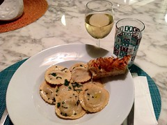 Butternut squash ravioli with brown butter and sage, onion focaccia, 2009 Zaca Mesa chardonnay (*FrogPrincesse*) Tags: dinner pasta sage squash butternut brownbutter
