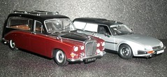 Daimler DS420 and Citroen CX Break Hearse's in 1/43rd scale. (Ledlon89) Tags: cars hearse modelcars undertakers scalemodels scaleddown diecastmodels modelhearse funeralcars