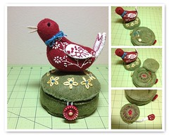 Super Swaps Little red bird Pincushion, needle holder and tape measure for my partner Karin (Sew Crazy Mamma) Tags: red bird book fdsflickrtoys pin embroidery super tape needle measure cushion swaps holder superswapslittleredbirdpincushion needleholderandtapemeasure