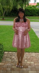 Pink Prom Dress (Lisa Monroe) Tags: pink stockings dress dresses heel gurl promdress