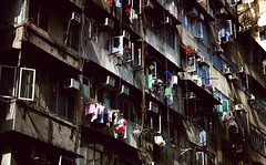 urban vine (Chez C.) Tags: old city urban abstract public architecture concrete hongkong design downtown flats laundry