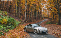 Fall in Love (Gaetan | www.carbonphoto.fr) Tags: auto autumn orange fall leaves car japan speed forest nissan great fast automotive exotic coche incredible luxury supercar 350z jdm hypercar worldcars carbonphoto