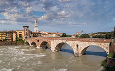 Ponte Pietra Panoramic (Blueocean64) Tags: italy italia italie veneto verona city cityscape classic view architecture pont ponte puente bridge panorama panoramic panoramique ptgui unesco worldheritage day ciel cielo sky clouds cloudy nuages nuvole nubes paysage paesaggio landscape paisaje water eau river extrieur outdoor light summer red green blue explore explorer panasonic g5 captureone photoshop