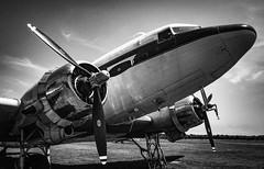Vintage Flying Machine, DC-3 (pmpiasecki) Tags: airplane blackwhite landscape ricohgr monotone monochrome blackandwhite transportation old vintage aircraft plane