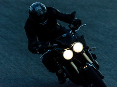 Rider in the night (Nico.H.) Tags: motorbike france nikon dslr toulouse sport moto triumph track motorcycle d5100