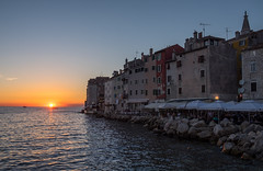 At the day's end (The Green Album) Tags: rovinj croatia istria sunset sea horizon dusk twilight town buildings water ripples people eating drinking cafe