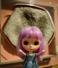 Isolde Brittany: I'm glad I didn't have a close encounter with whatever left this big footprint! (19/31--Close Encounters) (Bebopgirl1969) Tags: blythe lavenderhug dinosaur footprint cast kelvingrove