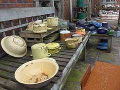 Pots & Pans (Landie Les) Tags: salvage yard lesoakes junk pots pans enamel kitchen ware
