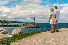 Harbour Mouth View (fotofrysk) Tags: collingwoodharbour harbour georgianbay lakehuron pier swimmers bathers couple man woman clouds blue sundaydrive discoveringontario roadtrip canada ontario collingwood nikond7100 1608287328