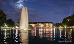 Germany - Stuttgart - Eckensee - Neues Schloss (gporada) Tags: neuesschloss eckensee gporada sony a7ii ilce7m2 cityofstuttgart stuttgart germany deutschland badenwrttemberg night dri exposurebracketing belichtungsreihe canonfd24mm canon fd24mm128 emountadaption reflections spiegelungen phvalue magiclight magic bluehour blauestunde europe nachtaufnahme see teich pond heurebleue altglas oldlens vintagelens festbrennweite manual stativaufnahme noautofocus alpha sonyalpha emount 2016 illumination wideangle weitwinkel water fontne wasserfontne lightbeam bluesky blue orange fountains trickfountains wasserspiele moon mond moonlight obererschlossgarten sptsommernacht latesummer latesummernight visiting travelling reisen traveller castle ngc world100f welltaken nearground streetlevel travelplanet flickrtravelaward
