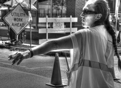 Smoke Stop (creepingvinesimages - mostly off while I relocate ) Tags: street blackandwhite mono trafficduty cigarette ponytail constructionsigns outdoors portland people peopleworking nikon d7000 pse14 photomatix topaz