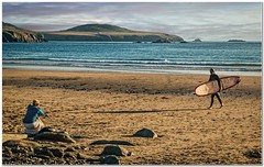 Caught on camera (Hugh Stanton) Tags: beach surfer evening photographer shadows appickoftheweek