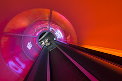 colorful tube (Blende1.8) Tags: rolltreppe escalator red rot orange purple magenta lines line linien diagonal diagonale raum building architecture architektur interior modern contemporary color colour colors colours sony alpha ilce7m2 zeiss variotessar16354za 1635mm wideangle colorful rund loch a7m2 a7ii urban autostadt wolfsburg vivid