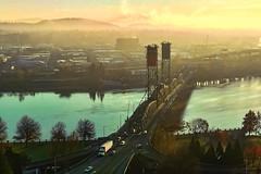 Cold Autumn Sunrise at the RO (rowjimmy76) Tags: pdx portland oregon pacificnorthwest pnw cityscape iphone6 cameraphone smartphone water sunrise hawthornebridge willametteriver hills waterfront