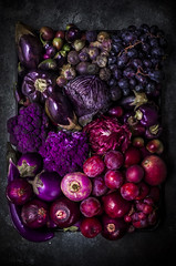 Purple Veggies (saraghedina) Tags: vegan vegetarian foodphotography foodstyling fruit fall farmersmarket autumn red purple color colorful apple cauliflower eggplant bellpepper highcontrast highangleview canon darkfood darkfoodphotography stilllife stilllifephotography raw grapes 50mm