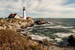 Cape Elizabeth (E.Clerc) Tags: ocean capeelizabeth usa maine lighthouse colors sea wave clouds blue water coast cliffs rocks