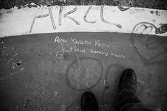 Alay's Gravity (okky_prisandi) Tags: shoes safetyshoes safety grafitti alay helipad concrete denim levis balikpapan kalimantantimur indonesia eastborneo 23mm film focallength