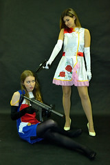 Brianna and Skye Cosplay shoot (Running Production) Tags: cosplay model photoshoot studio woman women dress anime animation character weapon