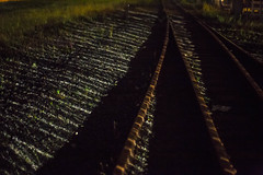 Stripes on Train Tracks (Patrick Brede) Tags: light santacruz night contrast train rust traintracks