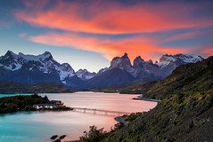 Sunset at Torres del Paine (CNaene) Tags: chile bridge sunset patagonia lake southamerica clouds evening coast windy glacier granite peaks overlook lenticular zenith pehoe mountainrange vibrantcolors torresdelpainenationalpark turquoisewater sedimentaryrocks highmountains cuernosdelpaine