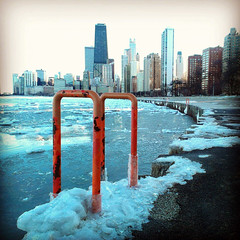 IMG_20130303_163646 (get directly down) Tags: winter lake snow chicago ice beach skyline michigan north avenue