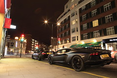 blocking the aventador (Stefan Steph) Tags: black london photography dubai fast automotive exotic bmw lamborghini 330ci supercar matte yellowline bimmer superfast aventador lp7004 v12mhj
